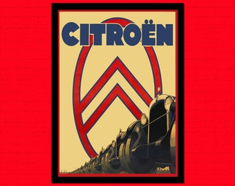 Citroen Retro Car Poster -  Retro Car Prints Vintage Car Retro Home Decor Auto Poster Gift Idea Citroen Print  t