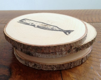 Set of 4 Wood Coasters, Whales, Home and Living, Kitchen and Dining, Rustic Home Decor, Camp, Cottage, Wood Slices, Natural