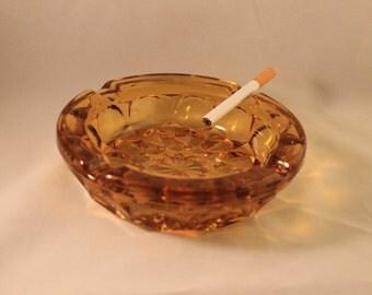 Amber Glass Ashtray, Vintage Amber Glass Ashtray, Smoker, Cigarettes, Tobacco