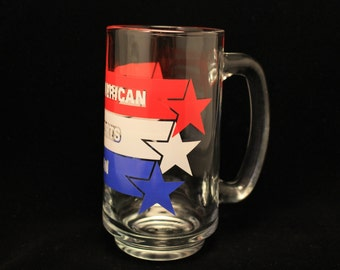 All American Sports Fan Vintage Avon Glass Mug 1983 Red White and Blue