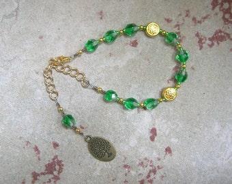 Nemetona Prayer Bead Bracelet (Adjustable): Gaulish Celtic Goddess of the Sacred Grove