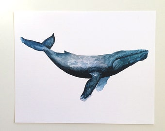 Whale Watercolor Art Print