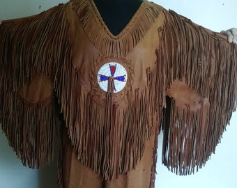 American Indian Leather Beaded Ceremonial Dress