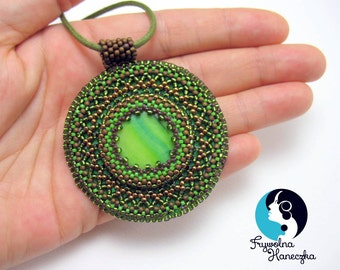 Bead Embroidery Pendant, Green Beaded Pendant, Brown Necklaces ,Hand made,
