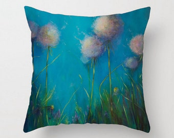 dandelion pillow turquoise pillow aqua pillow decorative pillow throw pillows sofa throw bedroom couch cushions decor