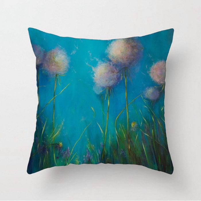 Dandelion pillow Turquoise pillow Aqua pillow Decorative