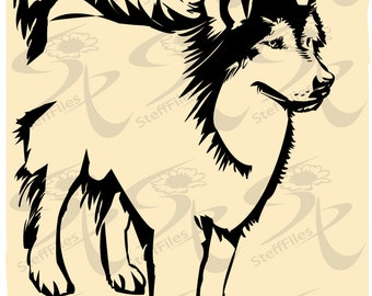 0333 _ Vector DOG Huskies_Animals Silhouette,Download files, Digital, graphical,SVG,DXF,ai, png, eps, jpg