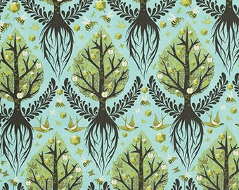 Artistic Tree Fabric - Birds and Bees by Tula Pink for Free Spirit - Tree of Life in Pool Blue - Fabric By the Half Yard