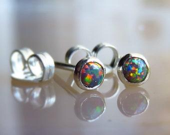 fire opal stud earrings, sterling silver tiny 3mm opal stud earring, opal posts earring