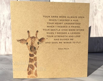 """Giraffe Birthday card - Kraft card - Personalised, with quote 6""""x6"""""""