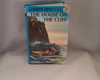 The House on the Cliff Mystery The Hardy Boys, Franklin W Dixon Hardy Boys, hardback Hardy Boys mystery book, Vintage Hardy Boys, blue book