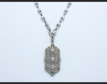 10K white gold antique filigree diamond necklace