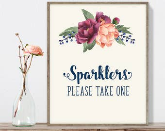 Wedding Sparkler Sign DIY, Please Take One / Burgundy Peony Berry Bouquet, Peach Blush Pink Ranunculus, Fall Wedding ▷ Instant Download JPEG