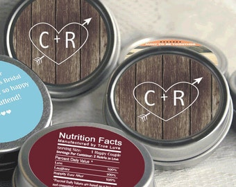 Wedding Favors- 50 Personalized Wedding Mint Tins - Wedding Favor Containers - Carved Initials Favors - Initials and Heart - Rustic Favors