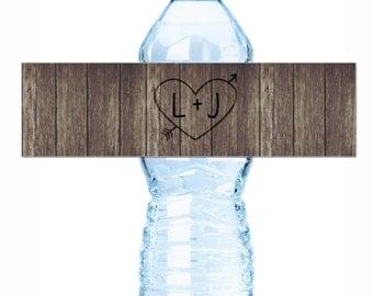 Wedding Water Bottle Labels - Wedding Water Labels - Custom Water Bottle Labels - Carved Initials Wedding Water Bottle Labels