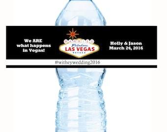 Las Vegas Wedding Decor - 20 Wedding Water Bottle Labels - Las Vegas Custom Water Bottle Labels - Waterproof Water Bottle Labels