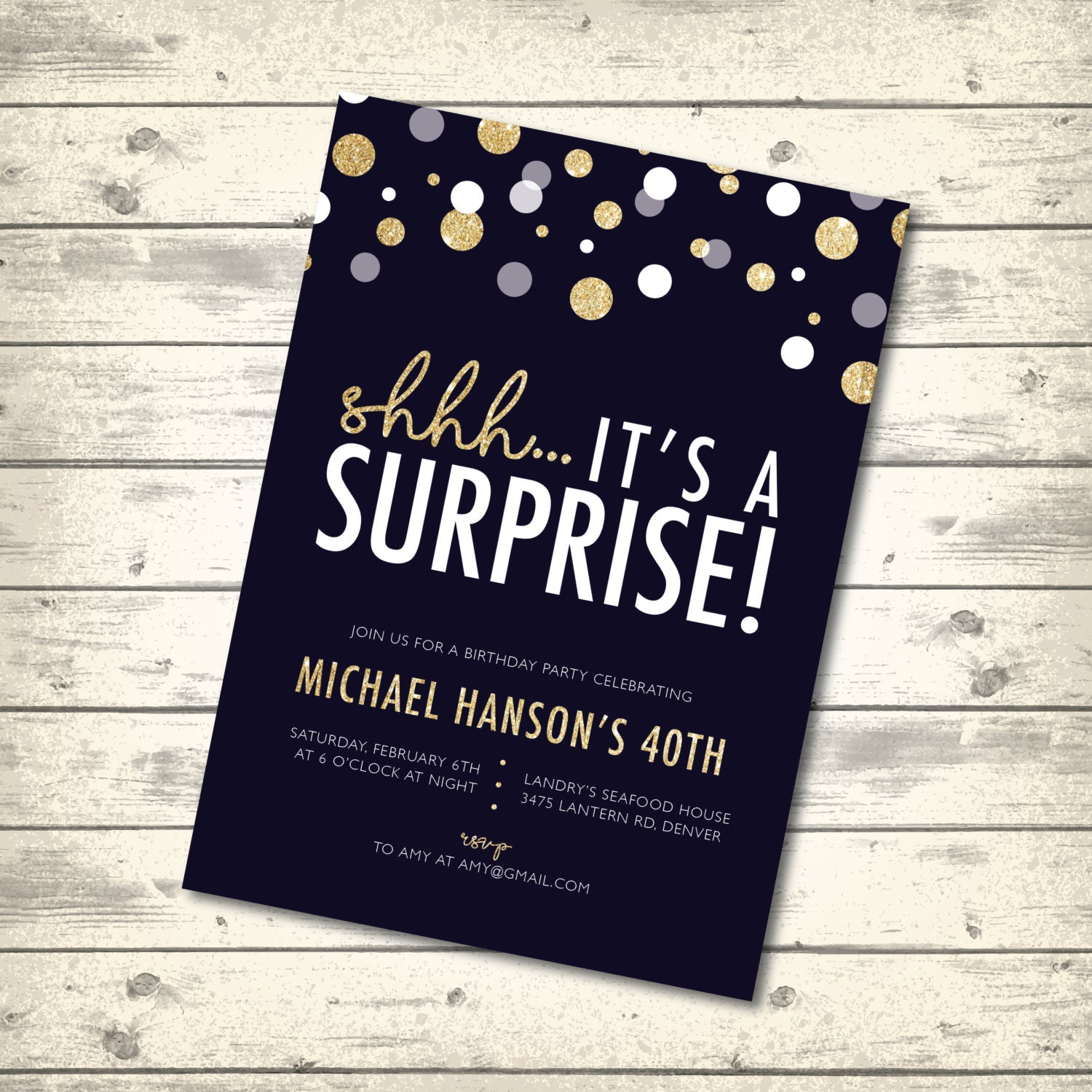 Surprise Birthday Party Invitation Gold Confetti Navy