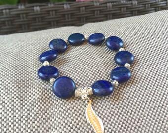 Ladies lapis bead bracelet