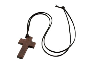 SALE ~ Wooden Cross Black Faux Suede Necklace 34 Inches