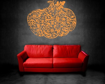 Wall Vinyl Sticker Decals Mural Room Design Halloween Pumpkin mi004