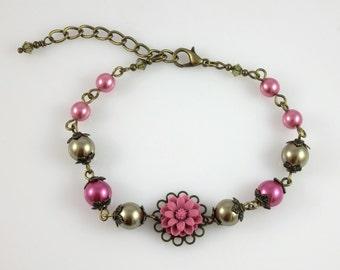 Vintage Bronze Dusty Rose Pink Khaki Olive Green Flower Pearl and Swarovski Crystal Bracelet