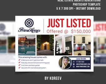 Real Estate advertising Postcard Template Real Estate Marketing Postcard  Realtor postcard, Photoshop template instant download