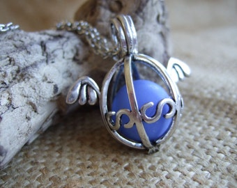 Sea glass marble necklace, blue marble in silver plated pendant, openable cage locket with sea glass marble, sea marble necklace, angel wing