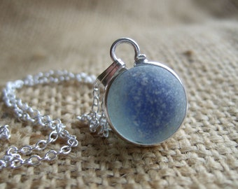 Blue sea glass marble necklace, Blue cat's eye marble, sea glass marble necklace, bezel set beach marble on sterling silver chain, gift