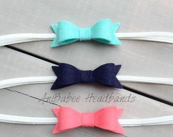 Coral Baby Bow Headband, Baby Bow Headband , Baby Headband, Baby Headband Set, Navy Blue Felt Bow Headband, baby felt bow headband set