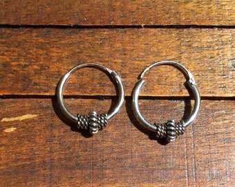 Sterling Silver Earrings...Sterling Silver Hoops...Handmade Vintage Earrings...Ethnic...Hippy...Gypsy...LV90