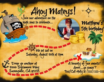 DIGITAL pirate birthday invite, pirate birthday invitation, pirate treasure map invite, pirate treasure map, pirate map birthday