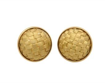 18K Yellow Gold Basket Weave Earclips