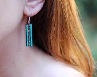 Wooden Earrings - Chevron Stripe - Turquoise Outside