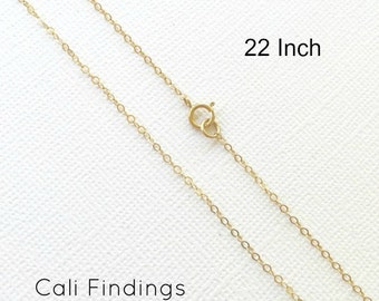 "14K Gold Fill 22"" Chain, Finished Flat Cable Chain Necklace 1.3mm, 1Pc, Gold Fill chain, Finished Necklaces, Gold Chain, 22 inch"