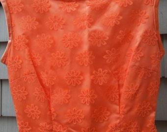 1960SVINTAGE PARTY DRESS EveningElegant Maxi Mod Satin Lace Prom XS Daisy Lace