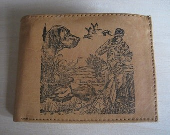 "Mankind Wallets Men's Leather RFID Blocking Billfold w/ ""Duck Hunting"" Image~Makes a Great Gift!"