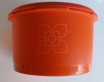 Vintage orange harvest fan floral tupperware tub 1960's