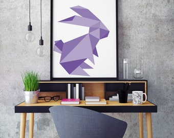 Rabbit Print, Geometric Rabbit Print. Digital Art Print Gift