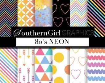 "80s Neon digital paper - ""80s Neon""  bright neon, pink, orange, yellow, lula, rainbow, geometric, party digital patterns for crafts"