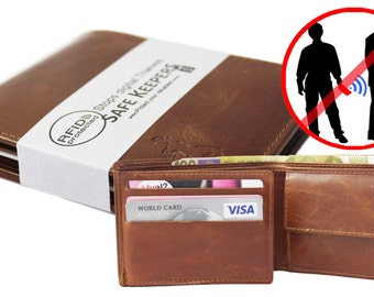RFID Protected Safekeepers Mens Wallet. Small leather Billfold in color: Black art. 1105al
