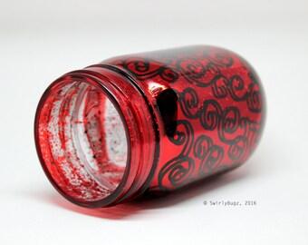 swirly metallic mason jar, hand painted, red