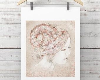 Capricorn - High Quality Print, Fashion Illustration, Star Sign Wall Art, Zodiac Room Decor