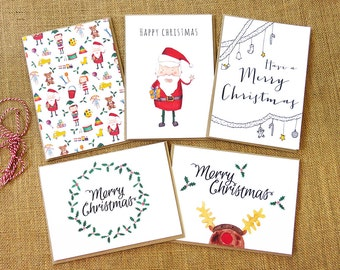 Christmas Card Pack – 5 Handmade Illustrated Cards, Cute Holiday Greeting Card, Xmas card with Santa, Holly, Presents and Children's Toys
