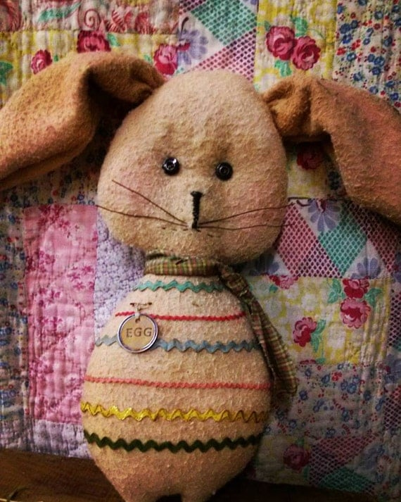 Primitive  Bunny Easter Rabbit Spring Easter egg Rustic Cloth doll Hafair Faap