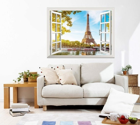 Wall mural eiffel tower view out of the open window creative for Eiffel tower wall mural ikea