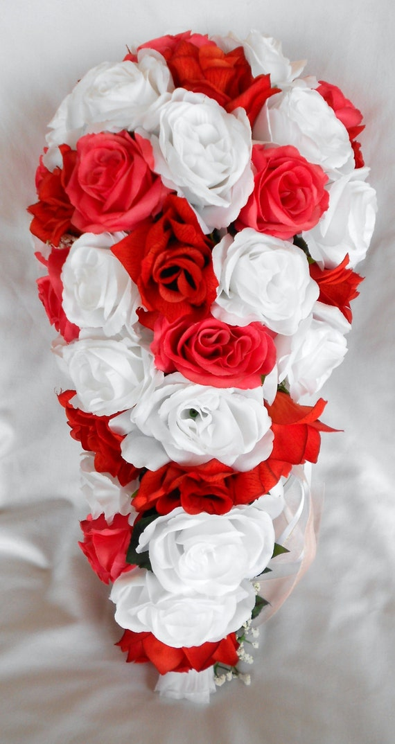 Silk Cascade wedding bridal bouquet  all in roses white and coral 2 pc Free toss