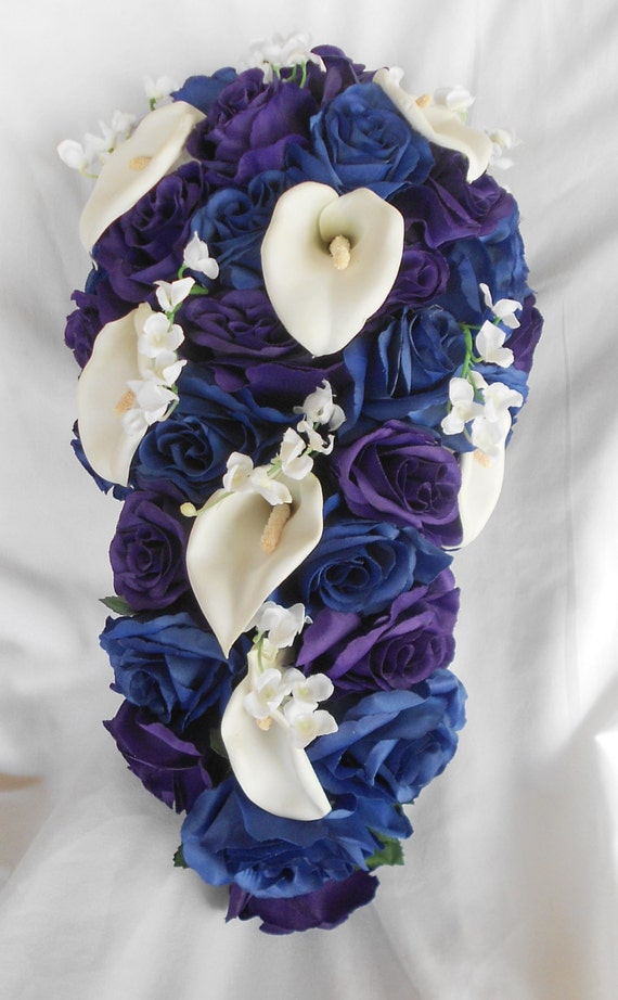 Royal blue, royal purple and white calla brides cascading wedding bouquet 2pc. Free small toss
