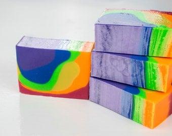 Mod Squad Rainbow Soap - wholesale -unscented soap - colorful soap - cold process soap - gift for HER - pretty soap - sensitive skin soap -