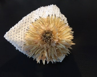 White and gold flower hat