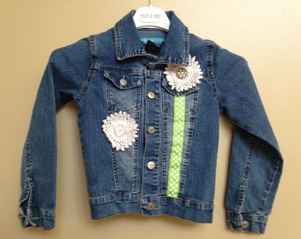 Upcycled girl's denim jacket, size 7/8 embellished coat, winter kid's outerwear, Christmas gift for girl, hand crafted recycled apparel